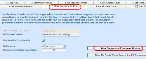 Starting purchase order creation process
