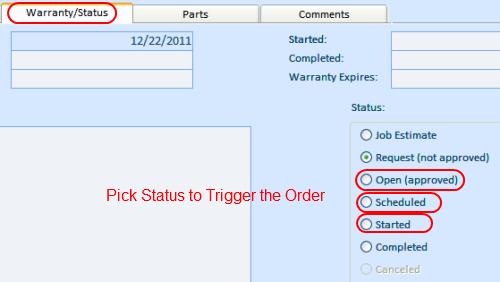 Scheduling work order by changing status