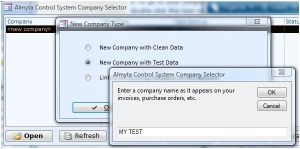 Creating una società di test in inventario software